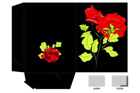 diecut: Decorative folder with red roses