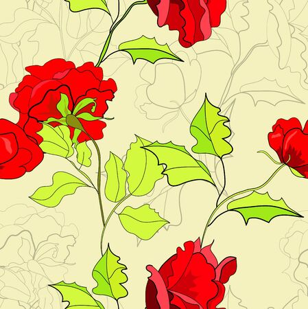paeony: Seamless wallpaper with red roses Illustration