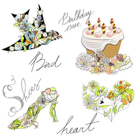 paeony: Bird, cake, heart, shoes Illustration