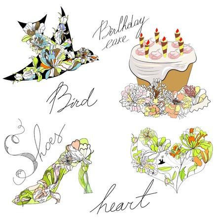 paeony: Bird, cake, heart, shoes Illustration