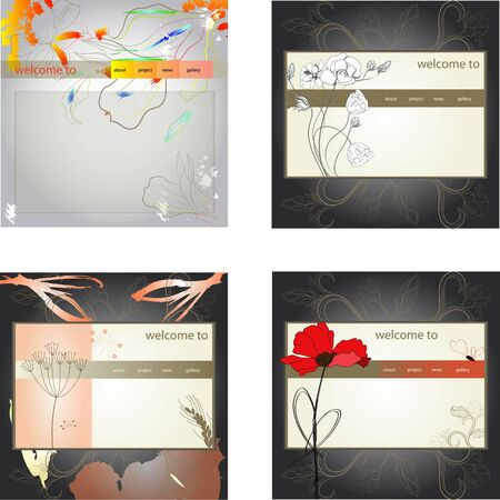 Set of website design template Vector