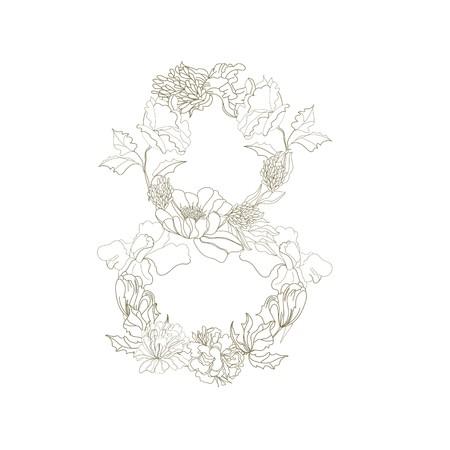 Floral font. Number 8 Vector