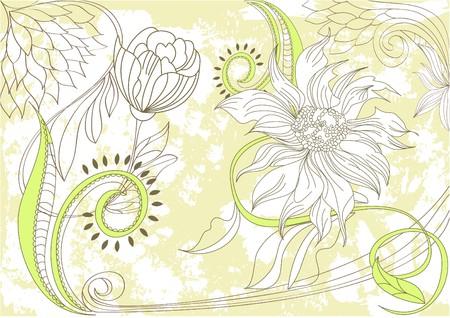 Retro stylized floral background