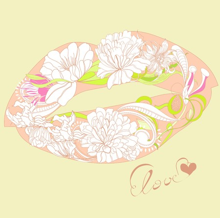 lips smile: Lips with floral ornament