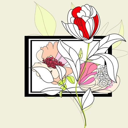 Decorative frame with flowers Vector