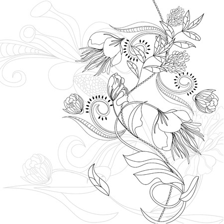paeony: Sketch with flowers