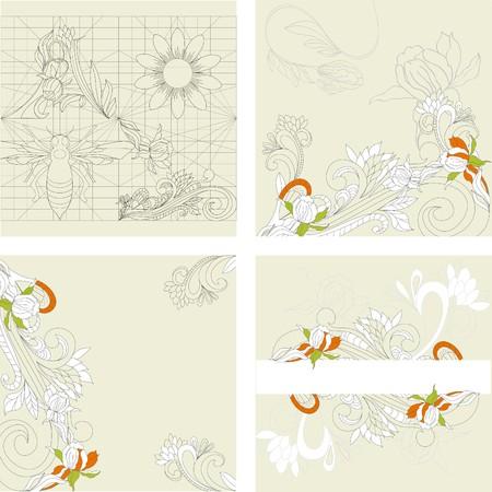 paeony: Retro stylized background. Set 1