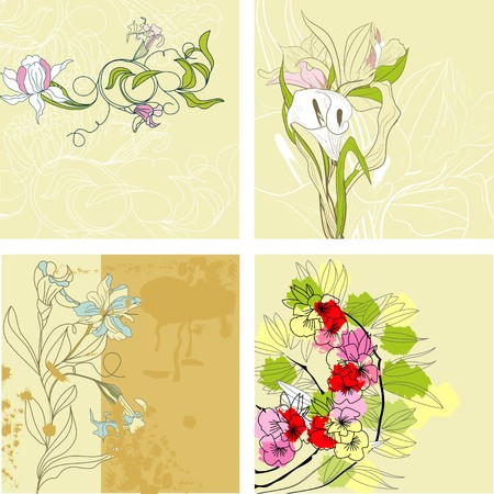 Set of vintage background Vector