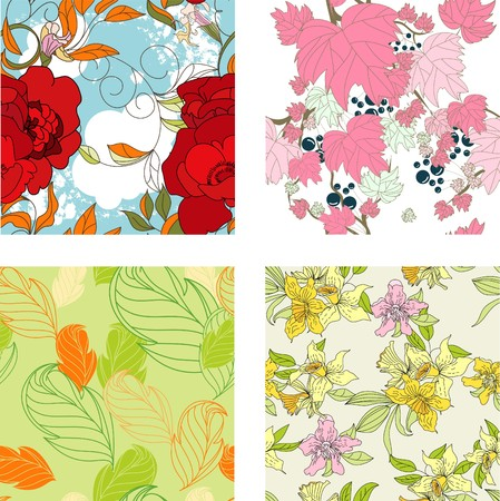 paeony: Floral seamless pattern. Set 8