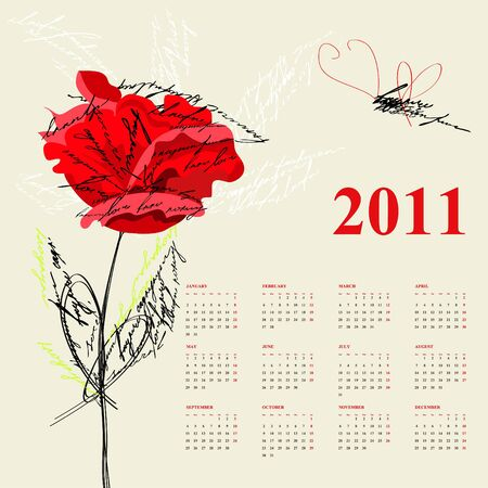 Calendar for 2011 with red rose flowers Vector