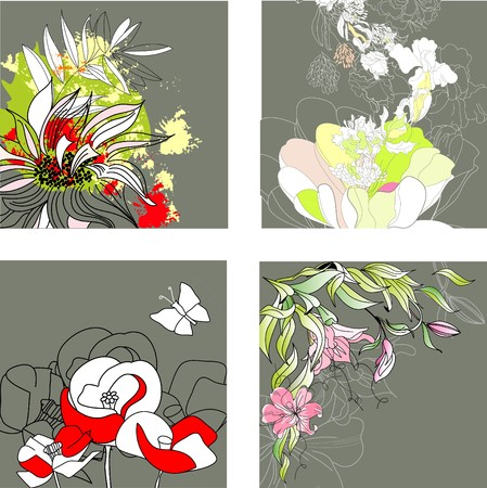 Set3 with floral background  Vector