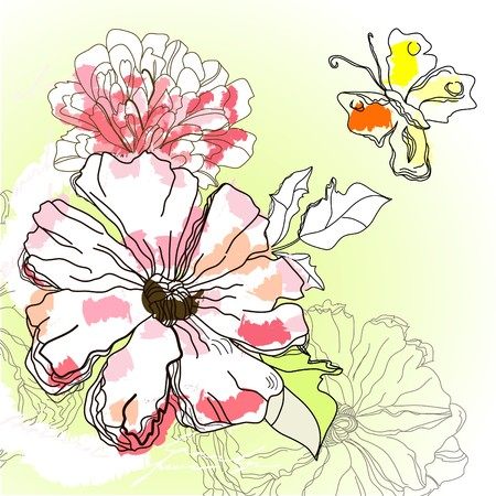 flore: Romantic floral background Illustration