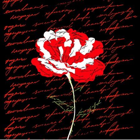 Red flower on black background Stock Vector - 7509247