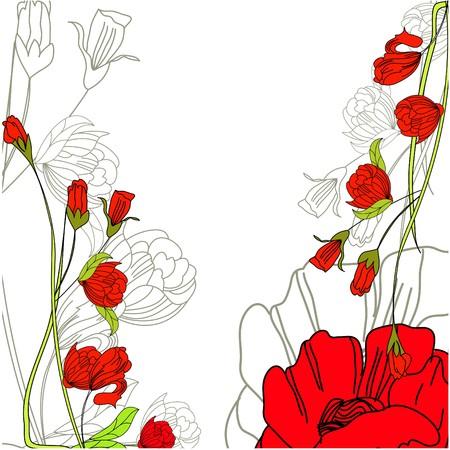 Decorative background with rose flowers Illustration