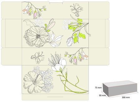 diecut: Gift box with flowers Illustration