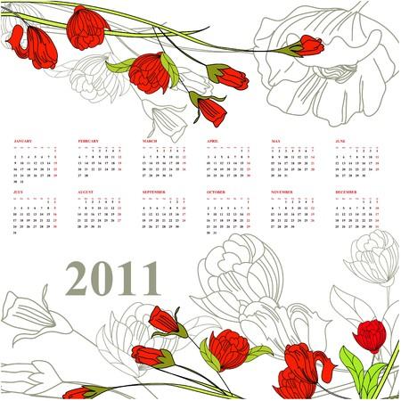 Calendar for 2011 with rose Illustration