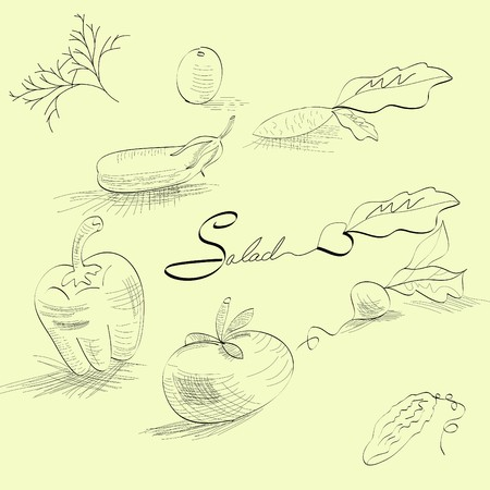 Sketch with vegetables Vector