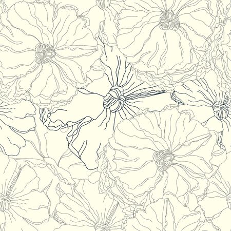 drawing on the fabric: Romantic seamless pattern Illustration