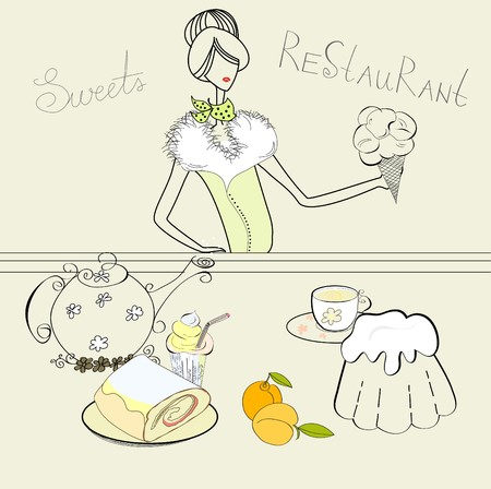 stand teapot: Girl with sweets Illustration