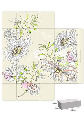 Template for decorative box with flowers Vector
