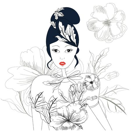 Sketch with woman and floral element Stock Vector - 7608964