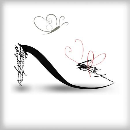 eleganz: Stilisierte Schuh Silhouette mit Schmetterling Illustration