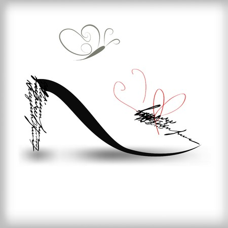 Stylized shoe silhouette with butterfly Vetores
