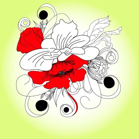 Romantic flowers Vector