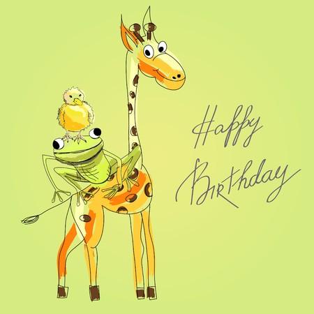 Birthday card with happy animals Vector