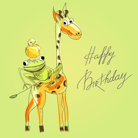 birthday cartoon: Birthday card with happy animals