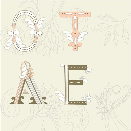 Letters O, T, A, E on floral background Vector