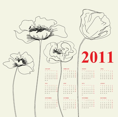 Calendar for 2011 with poppy flowers Stock Vector - 7717817