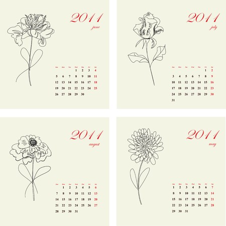 Calendar with flowers for 2011. Part 2 Vector