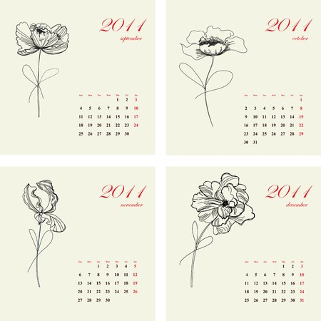 Calendar with flowers for 2011. Part 3 Vector