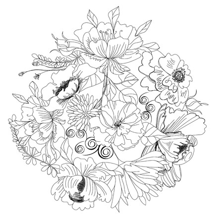 contrast floral: Sketch with flowers