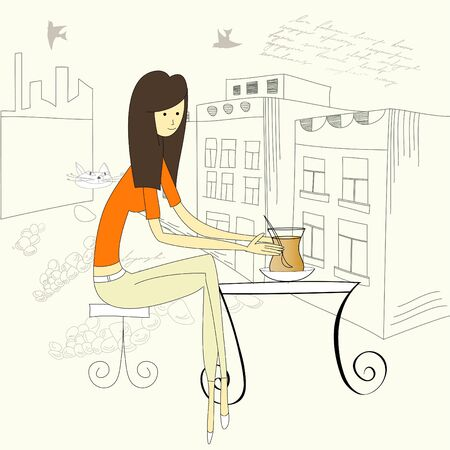 woman drinking tea: young woman drinking with a cup of tea Illustration