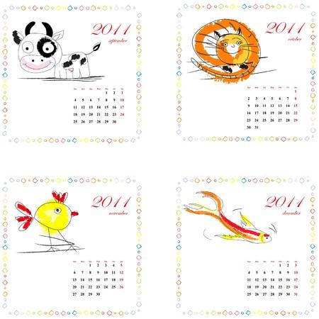 year of rooster: Calendario para el 2011 con animales. Intro  Vectores