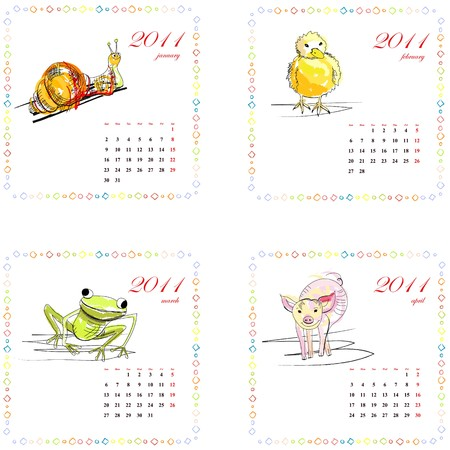 part frog: Calendar for 2011 with animals. Part1