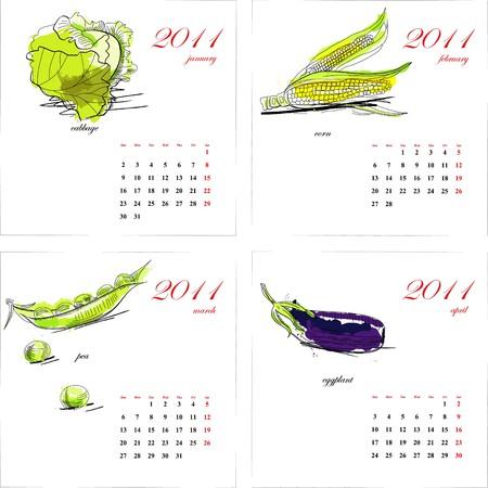 Template for calendar 2011. Vegetable. Part 1