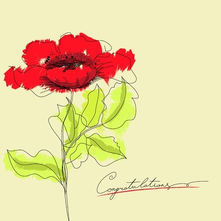 Red flowers with inscription congratulation Vector