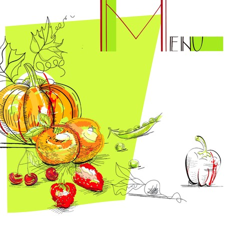 Menu with fruit and vegetables Stock Vector - 7870130
