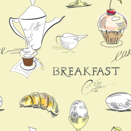 egg cups: Seamless background for breakfast Illustration