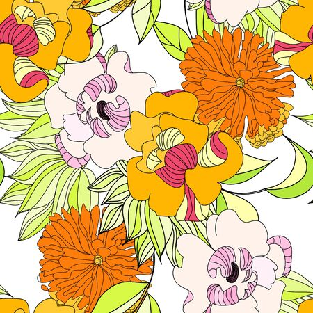 paeony: Colorful seamless pattern
