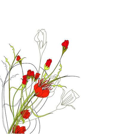 Arrière-plan floral romantique  Vecteurs