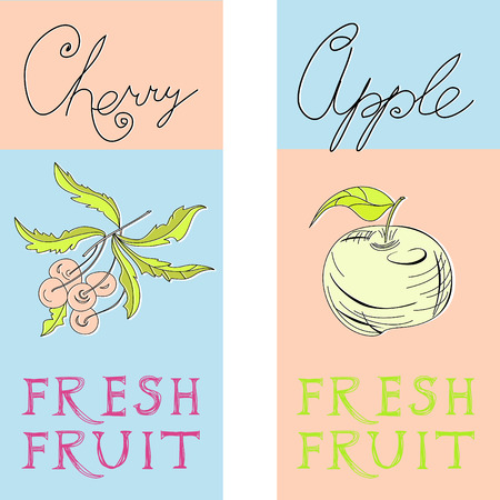 Banners with fruit Vector