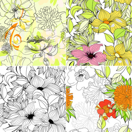 paeony: Set of floral seamless background