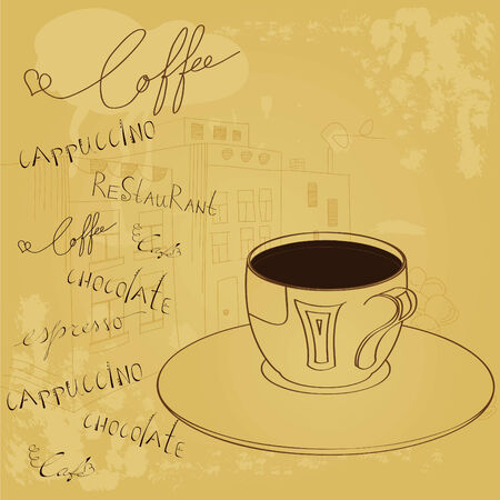 Background with a cup of coffee Stock Vector - 8005481