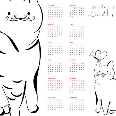 Calendar with cats for 2011 Stock Vector - 8005579