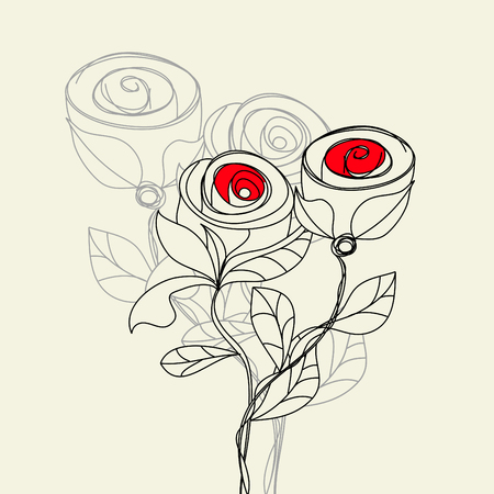 flore: Stylized rose flowers