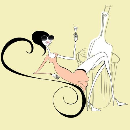 fashion bril: Mooie vrouw met een glas wijn